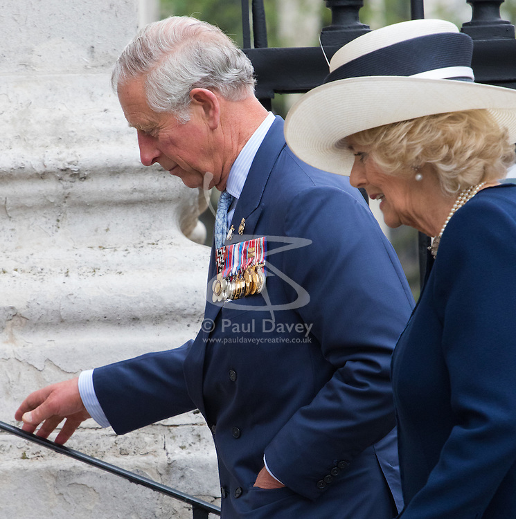 St Martin in the Fields Church, London, May 10th 2016. <br /> Charles, Prince of Wales and Camilla, Duchess of Cornwall to attend a reunion service at St Martin In the Fields followed by a tea party in support of the Victoria Cross and George Cross Association.