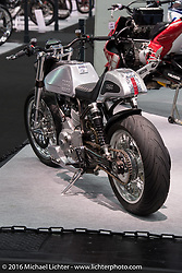 Mick O'Shea's Medaza Cycles 1978 Ducati powered custom Cafe Racer built by Mick and Don Cronin of Cork, Ireland on display at the Intermot Motorcycle Trade Fair. Cologne, Germany. Tuesday October 4, 2016. Photography ©2016 Michael Lichter.