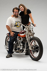 Matt Olsen's 1940 el knuckle is complete custom built around an original motor and modified transmission for Born Free 10. It is a coach built bike with blend of best styling from the early to mid 40s. It is owned by Gary Wattis. Photographed by Michael Lichter in Boulder, CO on June 28, 2018. ©2018 Michael Lichter.