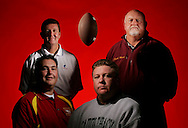 Orange County coaching legends John Barnes, back left, and Jerry Meek, back right, with sons and fellow coaches Brian Barnes, front left, and Jeoff Meek.