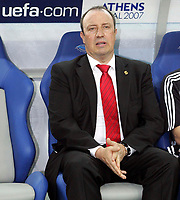 Photo: Paul Thomas.<br /> AC Milan v Liverpool. UEFA Champions League Final. 23/05/2007.<br /> <br /> Rafael Benitez, Liverpool manager, takes his sit before kick-off.