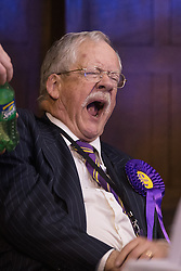 © Licensed to London News Pictures . 06/06/2014 . Newark , Nottinghamshire , UK . UKIP candidate ROGER HELMER yawns as he waits for the results to be declared . The count for the Newark by-election at Kelham Hall , Newark , this morning (Friday 6th June 2014) . Photo credit : Joel Goodman/LNP