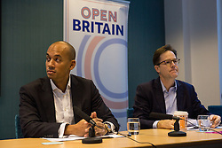 © Licensed to London News Pictures. 28/11/2016. London, UK. Chukka Umunna MP and Nick Clegg speak at the 'Open Britain' event, a cross-party campaign arguing for continued membership of the single market, following Britain's decision to leave the EU. Photo credit : Tom Nicholson/LNP
