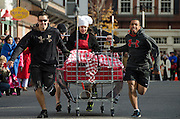 A chef-themed entry in the annual Bed Races, held every November after the Pajama Sale in Bar Harbor, Maine.