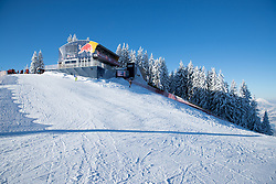 18.01.2017, Hahnenkamm, Kitzbühel, AUT, FIS Weltcup Ski Alpin, Kitzbuehel, Abfahrt, Herren, 2. Training, Streckenbesichtigung, im Bild Red Bull Starthaus // Red Bull starthouse during the course inspection for the 2nd practice run of men's Downhill of FIS Ski Alpine World Cup at the Hahnenkamm in Kitzbühel, Austria on 2017/01/18. EXPA Pictures © 2017, PhotoCredit: EXPA/ Johann Groder