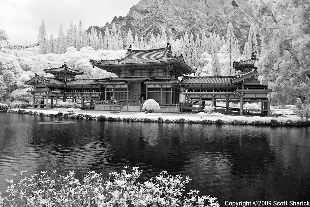 Black and white infrared picture of the Byodo-In Temple in Kaneohe, Hawaii