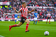 Max Power of Sunderland (27) in action during the EFL Sky Bet League 1 first leg Play Off match between Sunderland and Portsmouth at the Stadium Of Light, Sunderland, England on 11 May 2019.