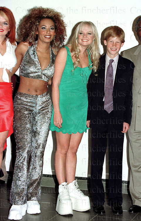 Prince Harry meets some of the Spice Girls during the Two Nations pop concert in Johannesbury, South Africa. Photo by Jayne Fincher.November 1997