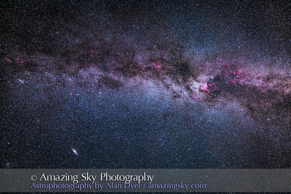 A test image of the northern autumn Milky Way from Perseus at left to Cygnus at right. Andromeda and M31 is at bottom. <br /> <br /> This was taken with the Canon RF 15-35mm lens wide open at f/2.8 and at 24mm focal length and with the Canon EOS Ra camera at ISO 800 for a stack of two 2-minute tracked exposures. Taken as part of testing the camera and lens.