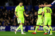 Connor Goldson of Brighton & Hove Albion (L)  celebrates after scoring their first goal with team-mates.<br /> Sky Bet Football League Championship match, Birmingham City v Brighton & Hove Albion at St.Andrew's Stadium in Birmingham, the Midlands on Tuesday 5th April 2016.<br /> Pic by Ian Smith, Andrew Orchard Sports Photography.