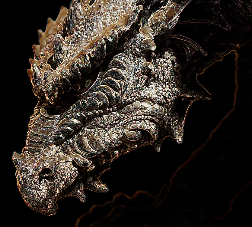 This is a macro shot of a resin dragon head well under exposed, with what was really some minimal processing after the fact.