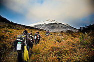 Selva Kailash (Brazil), marches quickly along during a trek to the Yendegaia River.