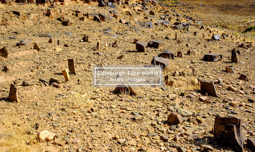An old Muslim graveyard, with the graves marked by simple stones, near Zagora, Morocco<br /> <br /> (c) Andrew Wilson   Edinburgh Elite media