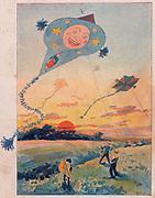 Boys flying kites. Late 90th century lithogrph.