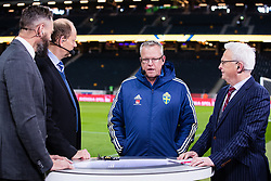 November 20, 2018 - Stockholm, SVERIGE - 181120 Olof Lundh, Lasse Granqvist and Hasse Backe of Cmore interviewing head coach Janne Andersson of Sweden after the Nations League football match between Sweden and Russia on November 20, 2018 in Stockholm. (Credit Image: © Andreas L Eriksson/Bildbyran via ZUMA Press)