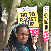 Unite Against Fascism hold protest against far right, racists of UKIP are holding an election press conference at Westminster, on 10 May 2019, at Nelson Mandela Statue Parliament Square no UKIP supports been seen, London, UK.