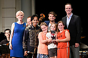 Uitreiking Méér Muziek in de Klas  Award Beste Ringtone door Wibi Soerjadi in het concertgebouw in Amsterdam. De kinderen componeerden zelf een ringtone die door een speciaal ensemble van het Metropole Orkest in het Concertgebouw zal worden gespeeld.<br /> <br /> Op de foto:  De jury Wibi Soerjadi , DJ Pieter Gabriel , Simon Reinink , Menno van den Berg (Ceo Samsung), Victor Coral (producer, dj), Buddy Vedder  van de wedstrijd Digitaal Componeren in de Klas heeft vanmiddag de award 'Beste ringtone van Nederland' uitgereikt aan groep 8 van De Ichthusschool uit Nijkerk.