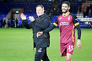 Bradford City Manager David Hopkin and Bradford City defender Kelvin Mellor (15) celebrate after  the The FA Cup 2nd round match between Peterborough United and Bradford City at London Road, Peterborough, England on 1 December 2018.