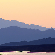 Mountain ridges at sunset at the Lake Mead National recreation Area. Boulder City, Nevada