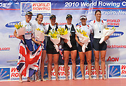 Hamilton, NEW ZEALAND. left Silver medalist GBR W2-  Heather STANNING and Helen GLOVER. Centre Gold medalist NZL W2- and Bronze medalist USA W2-  at the 2010 World Rowing Championships - Lake Karapiro. Saturday 06.11.2010.  [Mandatory Credit Peter Spurrier:Intersport Images].