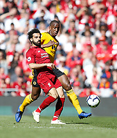 Football - 2018 / 2019 Premier League - Liverpool vs. Wolverhampton Wanderers <br /> <br /> Mohamed Salah of Liverpool vies with Willy Boly of Wolverhampton Wanderers, at Anfield<br /> <br /> COLORSPORT/BRUCE WHITE