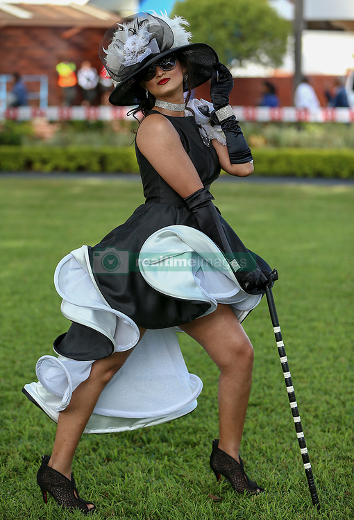 Durban. 070718. Fashion Theme for the 2018 Vodacom Durban July. - It Is Time - Every year a new theme is released to get the creative juices of the visitors and fashion desighners flowing. Picture Leon Lestrade. African News Agency/ANA. Yajan Debidee dressed by Warren Morck.