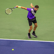2019 US Open Tennis Tournament- Day Twelve. Grigor Dimitrov of Bulgaria in action against Danill Medvedev of Russia in the Men's Singles Semi-Finals match on Arthur Ashe Stadium during the 2019 US Open Tennis Tournament at the USTA Billie Jean King National Tennis Center on September 6th, 2019 in Flushing, Queens, New York City.  (Photo by Tim Clayton/Corbis via Getty Images)