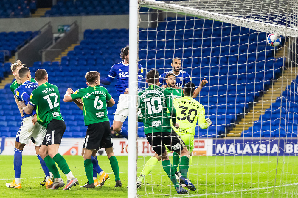 GOAL 3-2 Cardiff City's Sean Morrison (4) scores his side's third and winning goal during the EFL Sky Bet Championship match between Cardiff City and Birmingham City at the Cardiff City Stadium, Cardiff, Wales on 16 December 2020.