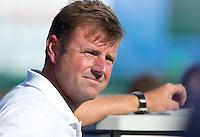 BOOM - Nederlander in Belgische dienst, bondscoach Marc Lammers   tijdens het Europees Kampioenschap hockey   tussen de vrouwen Nederland en Ierland (6-0). ANP KOEN SUYK