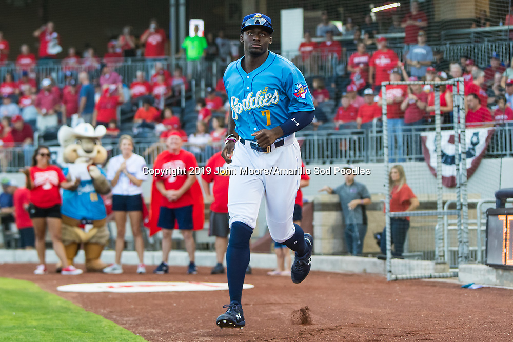 Amarillo Sod Poodles outfielder Taylor Trammell (7) against the Tulsa Drillers during the Texas League Championship on Tuesday, Sept. 10, 2019, at HODGETOWN in Amarillo, Texas. [Photo by John Moore/Amarillo Sod Poodles]