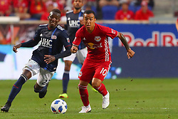 July 21, 2018 - Harrison, NJ, U.S. - HARRISON, NJ - JULY 21:  New York Red Bulls midfielder Alejandro Romero Gamarra (10) controls the ball during the first half of the Major League Soccer game between the New York Red Bulls and the New England Revolution on July 21, 2018, at Red Bull  Arena in Harrison, NJ.(Photo by Rich Graessle/Icon Sportswire) (Credit Image: © Rich Graessle/Icon SMI via ZUMA Press)