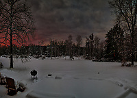 Dawn view out my patio door after the Nor'easter storm. Composite of six images taken with a Nikon D810a camera and 14-24 mm f/2.8 lens (ISO 200, 24 mm, f/5.6, 1/30 sec). Raw images processed with Capture One Pro and AutoPano Giga Pro.