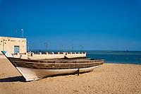 traditional arabic boat on the beach of Al Wakrah souk landmark of Qatar