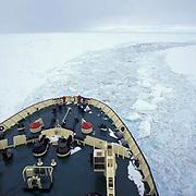 Antarctica, Russian ice- breaker Kapitan Dranitsyn working to break pack ice on Weddell Sea.