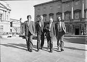 1983-11-83.11th Octoer 1983.11-10-1983.10-11-83..Photographed at Seanad Éireann..Striding Forward: ..Four members of Seanad Éireann enjoy the rare rays of an October sun outside the Upper House of the Oireachtas in Dublin.