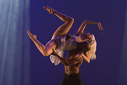 "© Licensed to London News Pictures. 12/06/2014. London, England. James Boyd and Adrienne Canterna performing. Rasta Thomas' ""Rock the Ballet"" starring the Bad Boys of Dance makes its London debut at the Peacock Theatre. ""Rock the Ballet"" is a fusion of classical ballet techniques belnded with musical theatre, hip hop and acrobatics. The show is danced to some of rock and pop's biggest hits. Choregraphed and danced by Adrienne Canterna with ""The Bad Boys of Dance"" James Boyd, Robbie Nicholson, Tim Olson, Lee Gumbs, Blake Zelesnikar and Joshua Alexander. At the Peacock Theatre from 10 to 28 June 2014. Photo credit: Bettina Strenske/LNP"