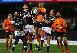 Curwin Bosch and Chilliboy Ralepelle of the Sharks wins the high ball during the Currie Cup premier division match between the The Sharks and The Cheetahs held at King's Park, Durban, South Africa on the 10th September 2016<br /> <br /> Photo by:   Anesh Debiky / Real Time Images
