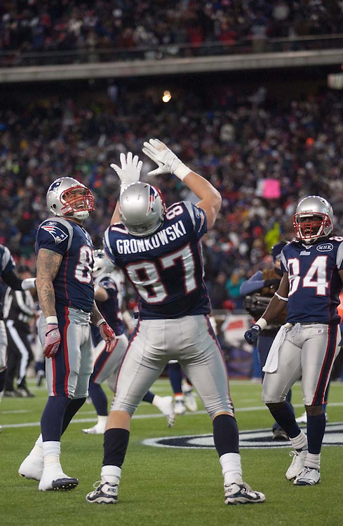 Foxborough, MA 01/14/2012.Patriots tight end Rob Gronkowski celebrates a touchdown in the first half of  Saturday's AFC Divisional game between the New England Patriots and the Denver Broncos..Wicked Local Photo by Alex Jones