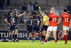 TJ Ioane of Sale Sharks is sent to the sin bin for a shoulder charge - Mandatory by-line: Robbie Stephenson/JMP - 18/12/2016 - RUGBY - AJ Bell Stadium - Sale, England - Sale Sharks v Saracens - European Champions Cup