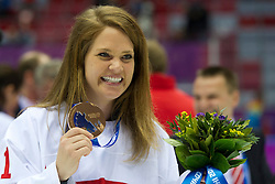 20.02.2014, Bolshoy Ice Dome, Adler, RUS, Sochi, 2014, Eishockey Damen, Medaillenfeier, im Bild Torhueterin Florence Schelling (SUI) mit der Bronze Medaille an der Medaillenfeier // during Womens Icehockey Medal Ceremony of the Olympic Winter Games Sochi 2014 at the Bolshoy Ice Dome in Adler, Russia on 2014/02/20. EXPA Pictures © 2014, PhotoCredit: EXPA/ Freshfocus/ Urs Lindt<br /> <br /> *****ATTENTION - for AUT, SLO, CRO, SRB, BIH, MAZ only*****