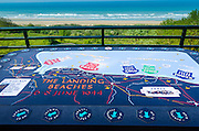 Map at the American Cemetery overlooking Omaha Beach, Colleville-sur-Mer, Normandy, France