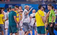 TOKIO - assistent coach Michel van den Heuvel (Bel)   .   vreugde na  de hockey finale mannen, Australie-Belgie (1-1), België wint shoot outs en is Olympisch Kampioen,  in het Oi HockeyStadion,   tijdens de Olympische Spelen van Tokio 2020. COPYRIGHT KOEN SUYK