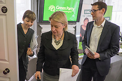 © Licensed to London News Pictures. 24/02/2015. London, UK. (L-R) Caroline Lucas, MP for Brighton Pavillion,  Natalie Bennet, Leader of the Green Party, Darren Hall, PCC for Bristol West.  The Green Party Campaign Launch ahead of the UK general election at RSA House in Central London today 24th February 2015. Photo credit : Stephen Simpson/LNP