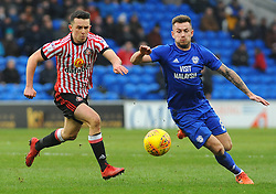 George Honeyman of Sunderland battles with Joe Ralls of Cardiff City- Mandatory by-line: Nizaam Jones/JMP- 13/01/2018 -  FOOTBALL - Cardiff City Stadium - Cardiff, Wales -  Cardiff City v Sunderland - Sky Bet Championship