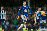 Ross Barkley (Everton) watches as his penalty beats the Newcastle keeper during the Barclays Premier League match between Everton and Newcastle United at Goodison Park, Liverpool, England on 3 February 2016. Photo by Mark P Doherty.