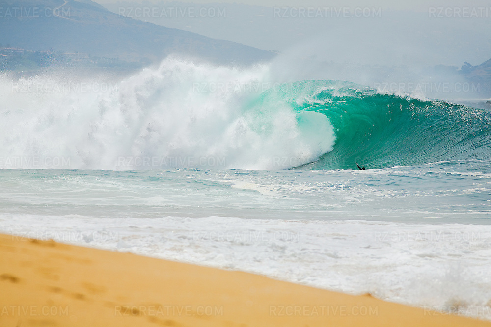 Large south swell at Newport's Beach Wedge. Photo by Robert Zaleski/rzcreative.com