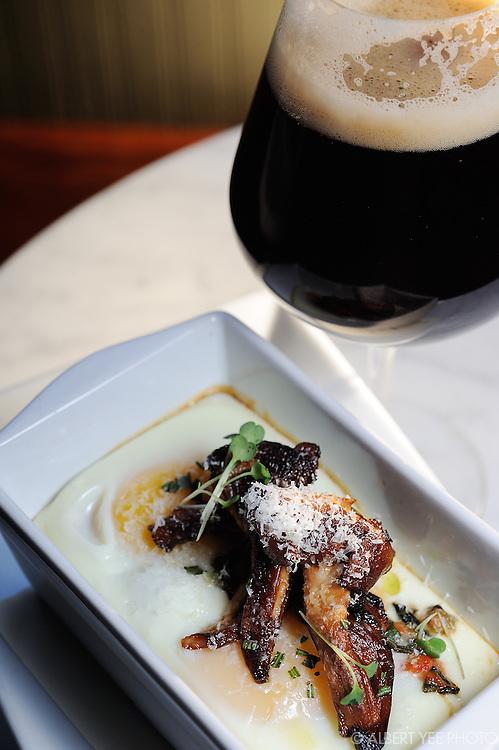 SHIRRED EGG: Chanterelle mushrooms, slow cooked greens, Parmigiano-Reggiano. <br /> <br /> Resurrection Ale House<br /> <br /> for Grid Magazine<br /> <br /> December 12, 2013