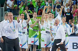 Team Slovenia celebrate during basketball match between National teams of Slovenia and Italy in Round 2 at Day 9 of Eurobasket 2013 on September 12, 2013 in Arena Stozice, Ljubljana, Slovenia. (Photo by Vid Ponikvar / Sportida.com)