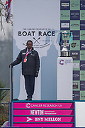 Greater London. United Kingdom, The Boat Race Trophy Guarded,  University Boat Race , Cambridge University vs Cambridge University Putney to Mortlake,  Championship Course, River Thames, London. <br /> <br /> Saturday  24.03.18<br /> <br /> [Mandatory Credit:Peter SPURRIER/Intersport Images]