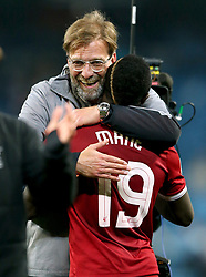 Liverpool manager Jurgen celebrates with Sadio Mane at the end of the match